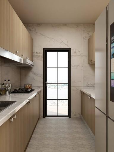 Gợi ý mẫu tủ bếp lắp ghép song song màu vân gỗ với mặt bếp bằng đá vệ sinh dễ dàng. Phần tay nắm tủ thiết kế núm tròn dễ sử dụng cùng màu đồng hài hòa với màu tủ.