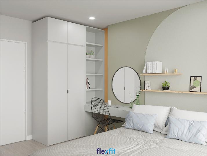 Tủ quần áo 2 buồng mang lại vẻ đẹp hiện đại, thanh lịch nhờ sở hữu gam màu trắng tinh tế. Ngoài ra, tủ được thiết kế thêm phần kệ giúp khách hàng có thể bày trí thêm các sản phẩm trang trí đẹp mắt.