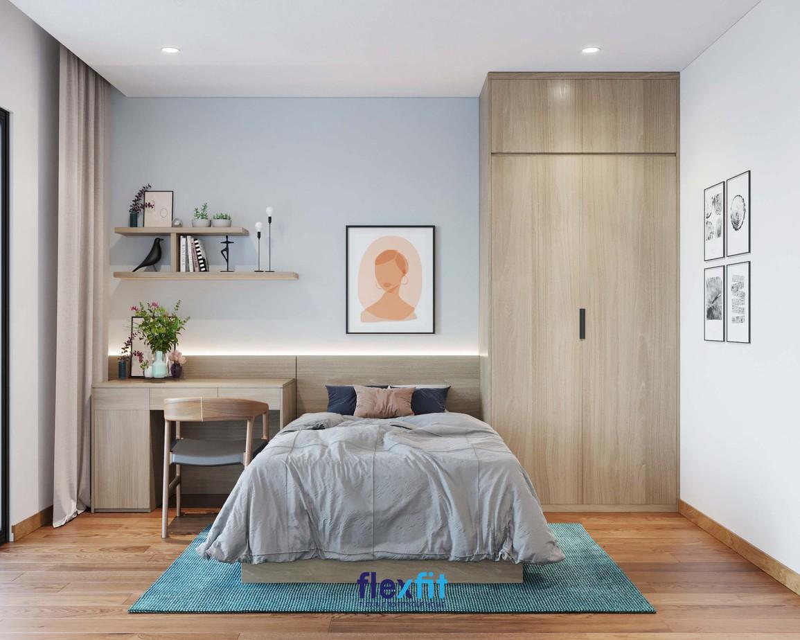 Tủ quần áo 2 buồng màu gỗ sáng cùng những đường vân bắt mắt giúp không gian phòng ngủ của bạn trở nên sang trọng, ấm cúng. Ngoài ra, thiết kế kịch trần giúp gia tăng không gian để lưu trữ.