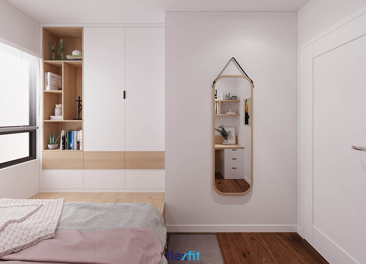 Tủ quần áo 2 cánh âm tường màu trắng và nâu hiện đại