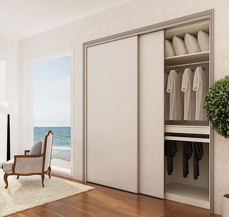 Tủ quần áo cánh lùa đặt âm tường màu trắng siêu hiện đại