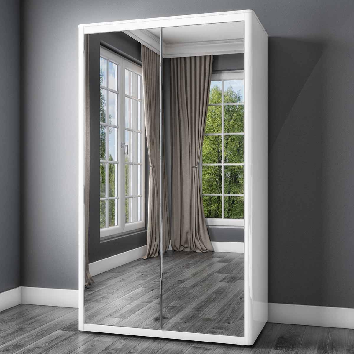 Tủ quần áo 2 cánh lùa có 2 gương mở rộng không gian