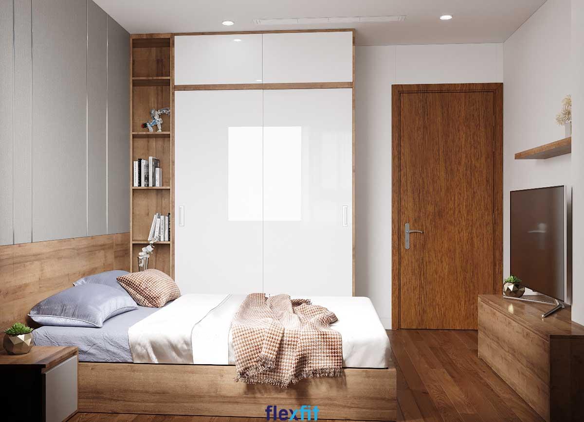 Tủ quần áo 2 cánh lùa lõi MDF chống ẩm màu trắng - nâu gỗ