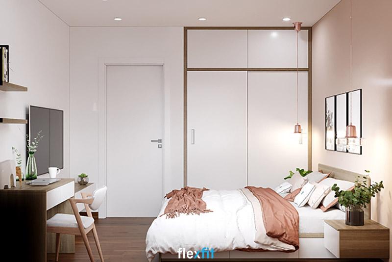 Tủ quần áo 2 cánh lùa gỗ MDF phủ Melamine màu trắng