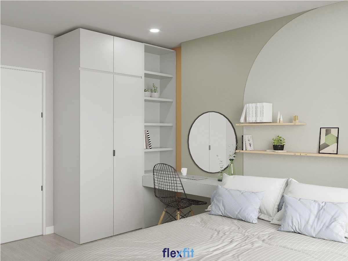 Tủ quần áo 2 cánh phủ MDF phủ Melamine màu trắng kết hợp kệ trang trí