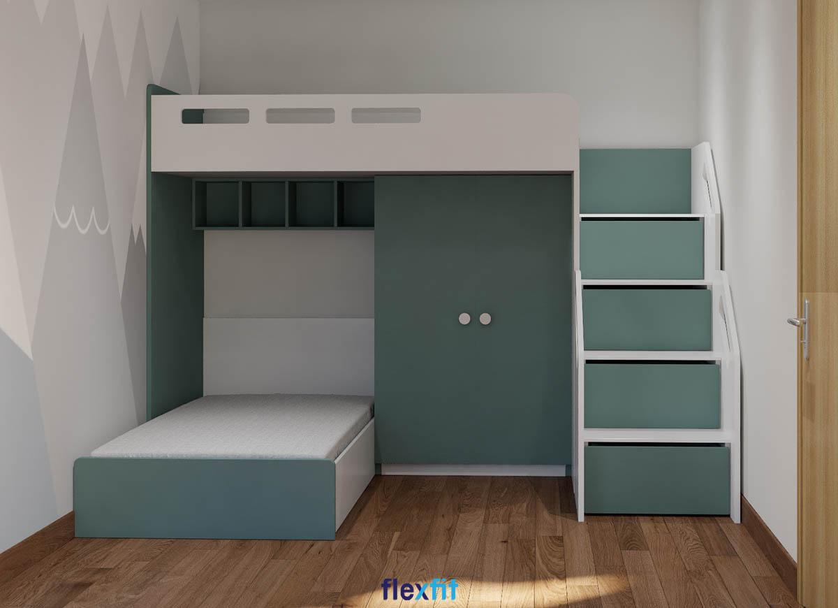 Tủ quần áo 2 cánh màu xanh rêu kết hợp giường tầng