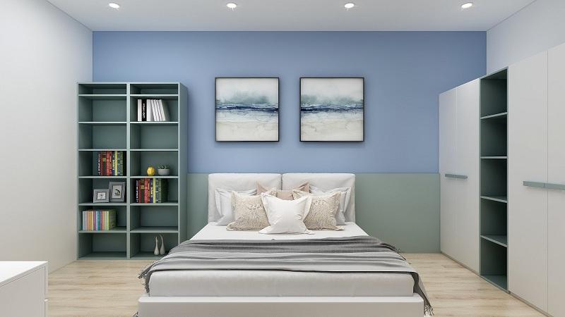 Tủ quần áo kích thước 2m làm từ lõi MDF phủ Laminate bền đẹp. Thiết kế hai hệ tủ được nối bằng kệ trang trí ở giữa tăng tính tiện lợi, giúp phân loại trang phục hiệu quả hơn. Tủ phối màu trắng và xanh pastel đẹp mắt, đồng bộ với nội thất chung của phòng ngủ.