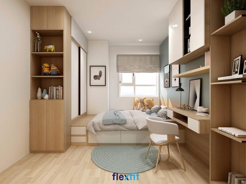 Mọi nhu cầu sử dụng đều được đáp ứng đầy đủ với thiết kế giường ngủ kết hợp tủ quần áo, kệ trang trí và các ngăn kéo lưu trữ này. Giường 1m8 được làm bằng lõi gỗ MDF chống ẩm phủ Melamine màu nâu vân gỗ ấm cúng, sang trọng.