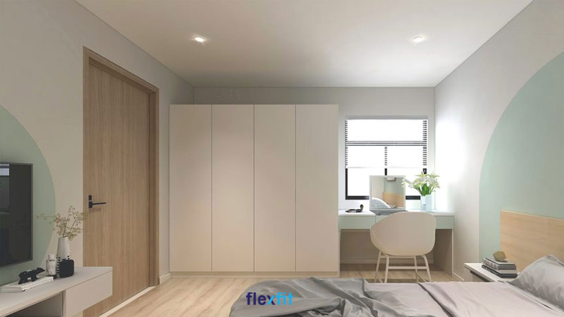 Tủ quần áo 2m thiết kế 4 cánh rộng rãi, tăng khả năng lưu trữ. Chất liệu được sử dụng là lõi MDF phủ Laminate dễ vệ sinh. Tủ sơn trắng toàn bộ vừa phù hợp với phong cách nội thất chung, vừa không làm phòng có cảm giác bị bí.