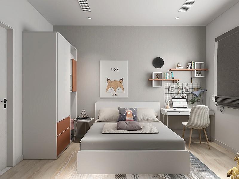 Tủ quần áo kích thước 2m đặt trong phòng ngủ tích hợp các ô tủ không cánh dùng để chứa đồ hoặc bày vật trang trí giúp căn phòng thêm sinh động. Tủ màu trắng xen kẽ hộc màu cam tạo điểm nhấn cho nội thất có màu sắc chủ đạo là xám trung tính.