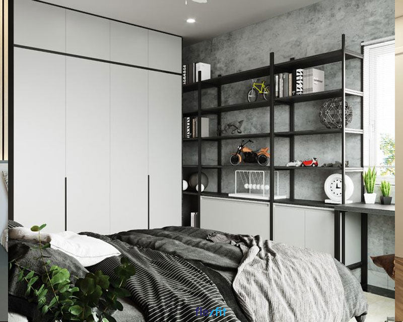 Mẫu tủ quần áo 4 cánh 3m lõi gỗ MDF phủ Melamine màu sơn trắng tinh khôi. Tủ có thiết kế kế kịch trần, bạn có thể tận dụng các ô chứa phía trên để cất gọn chăn màn hoặc các đồ dùng khác.
