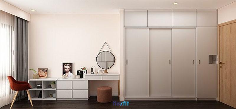 Mẫu tủ quần áo 3m có 3 cánh lùa, 1 cánh mở hiện đại, tiết kiệm diện tích phòng. Với thiết kế kịch trần, tủ cho không gian lưu trữ lớn hơn những mẫu tủ thông thường khác.