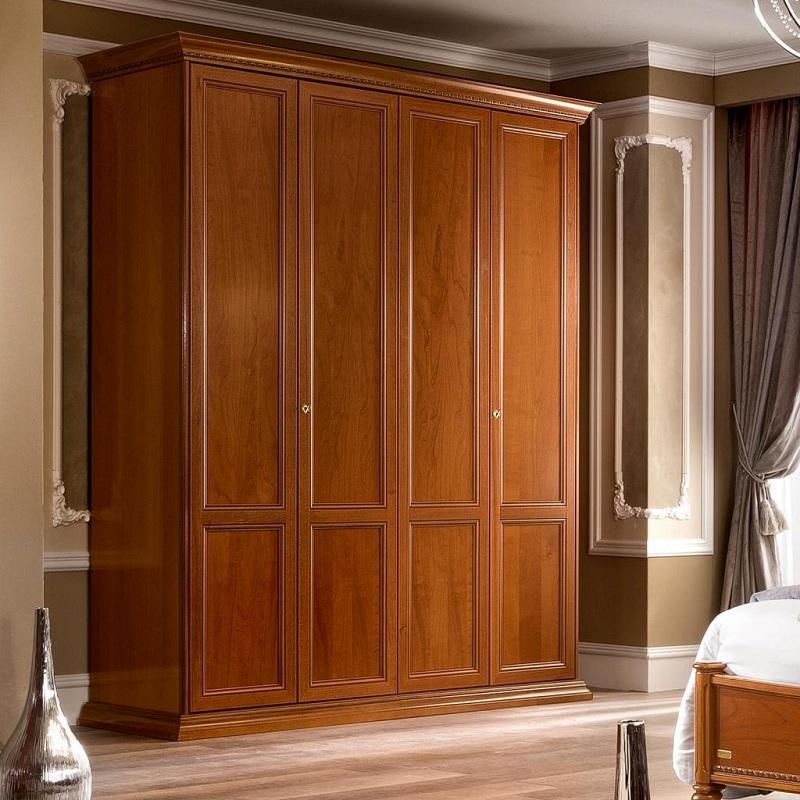 Tủ quần áo 4 buồng màu cánh gián phù hợp với không gian phòng ngủ thiết kế theo phong cách cổ điển.