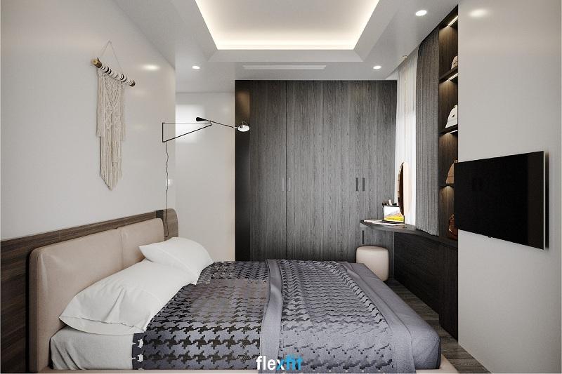 Tủ quần áo 4 buồng tông đen xám quyền lực, hòa quyện với màu ga giường cho không gian đầy cuốn hút. Thiết kế kịch trần giúp bạn có thêm không gian để lưu trữ.