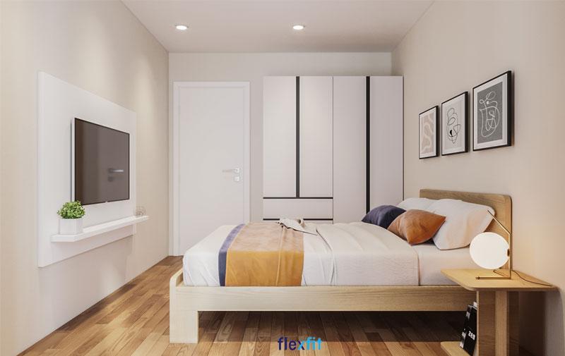 Mẫu tủ quần áo 4 cánh kích thước 2m có lõi từ MDF phủ Melamine chịu nhiệt tốt. Màu tủ trắng đồng bộ với màu nội thất chung trong phòng. Ngoài những ngăn chứa lớn, tủ còn được thiết kế thêm các ngăn kéo vô cùng hiện đại, tiện nghi.