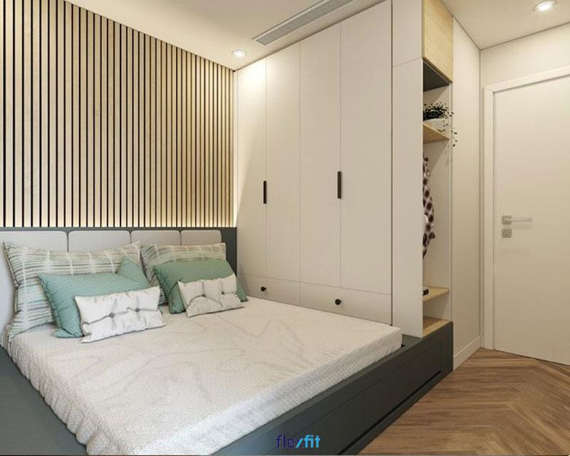Mẫu tủ quần áo 4 cánh kích thước 2m thiết kế tiện lợi cho người sử dụng với gian tủ mở ngoài. Gam màu trắng phối hợp nâu vân gỗ của tủ rất phù hợp với không gian phòng ngủ hiện đại, ưa chuộng sự đơn giản.