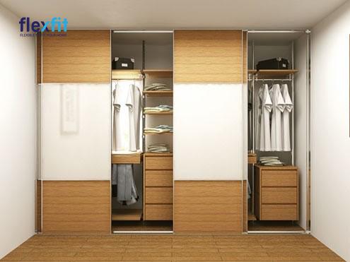 Mẫu tủ gỗ dài 3m với hai tông màu trắng và vân gỗ sáng được thiết kế âm thường với 4 cánh cửa lùa đem đến một sự mới mẻ. Thiết kế tủ nhiều ngăn mang đến cho bạn một không gian lưu trữ rộng lớn và dễ dàng phân chia, tìm kiếm đồ dùng.
