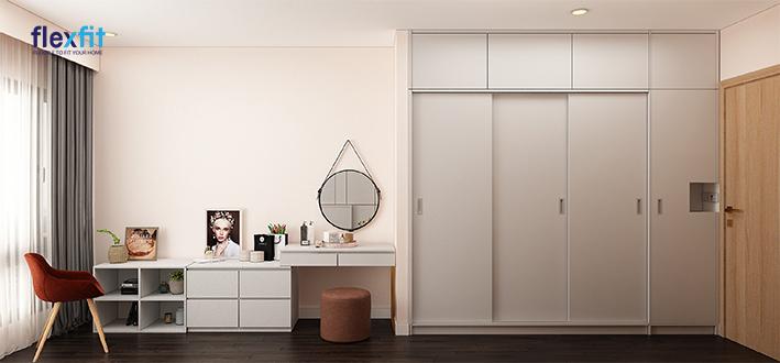 Hài hòa trong tổng thể căn phòng, chiếc tủ quần áo 4 cánh cửa lùa màu trắng này là một thiết kế vô cùng đơn giản mà tinh tế. Chiếc tủ sử dụng chất liệu lõi MDF phủ Laminate cho độ bền và khả năng chịu lực tốt.