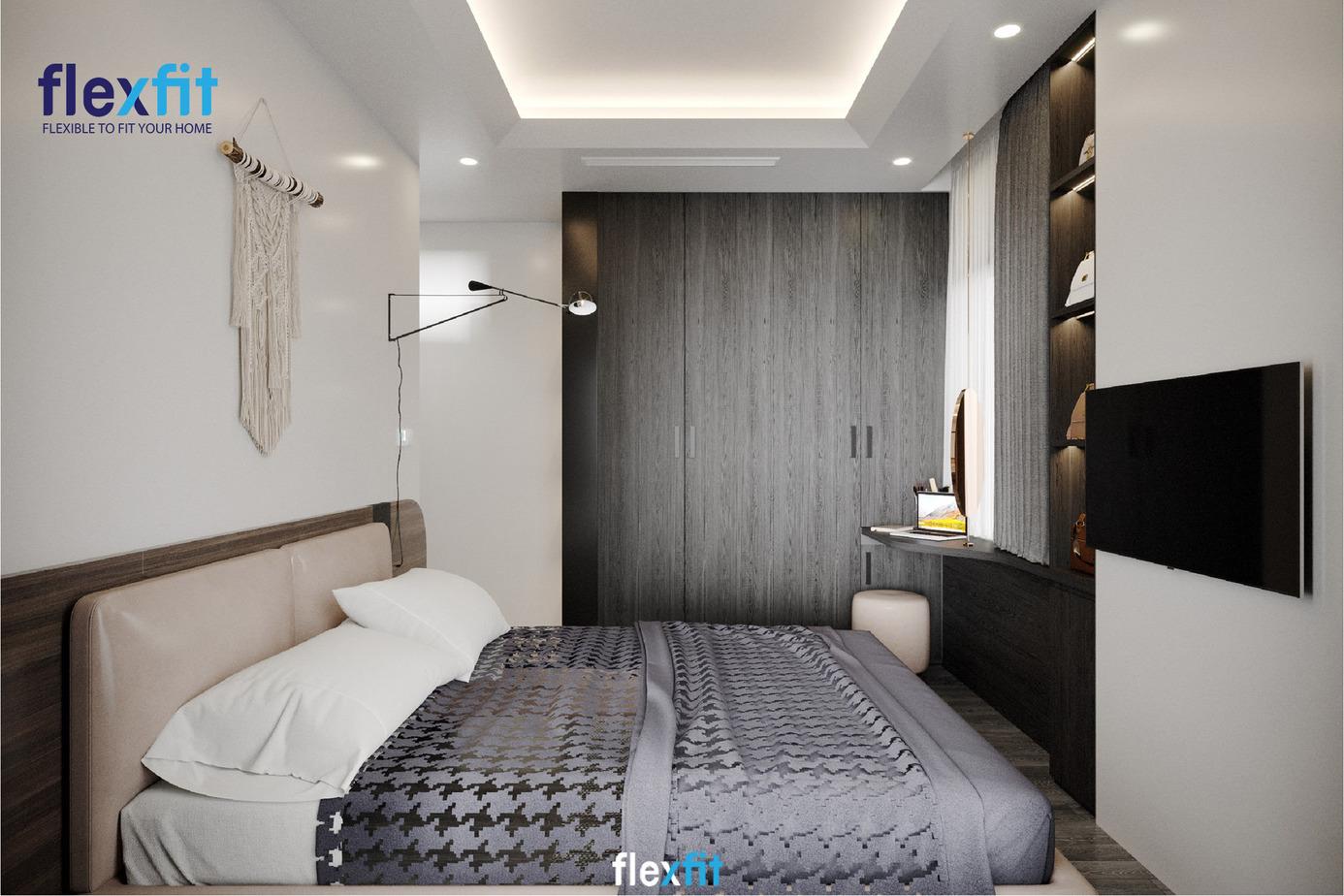 Với màu sắc đen xám vân gỗ, mẫu tủ quần áo 4 cánh mở này đem đến sự giản dị, lấp đầy chỗ trống của bức tường trắng đơn điệu. Tủ thiết kế kịch trần mang đến khả năng lưu trữ tối đa.