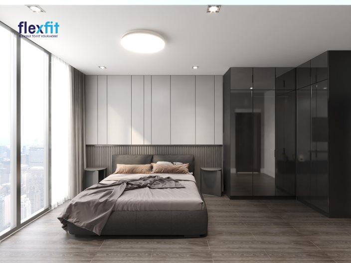Tủ quần áo 5 cánh có gương sử dụng chất liệu lõi MDF phủ Laminate bền đẹp, chịu lực tốt. Điểm đặc biệt là thiết kế tủ dạng chữ L vừa vặn với góc tường mang tính thẩm mỹ cao.