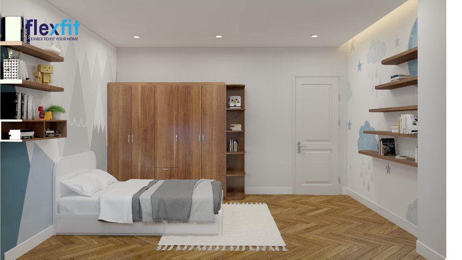 Tủ quần áo 5 cánh mở kích thước 2m màu nâu vân gỗ phối hợp tốt với nội thất còn lại của căn phòng. Tủ dùng chất liệu lõi MDF phủ Laminate chịu lực tốt, chống trầy xước. Thiết kế có thêm kệ trang trí cho không gian thêm sinh động.