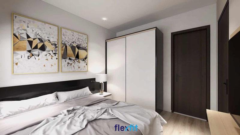 Tủ quần áo cửa lùa 2 cánh 2m4 đẹp sang trọng, tối giản và bền chắc với chất liệu lõi MDF phủ Laminate màu trắng - đen
