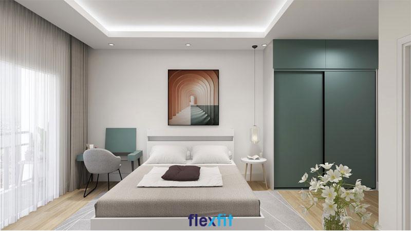 Tủ quần áo 2 cánh lùa 2m6 lõi MDF phủ Melamine màu xanh ghi mang đến vẻ đẹp thanh tao, nền nã đến cho căn phòng ngủ