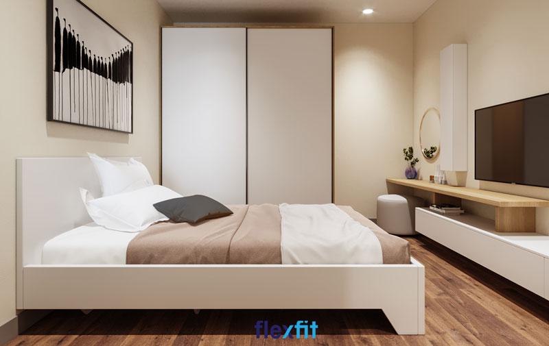 Vẻ đẹp thanh nhã, hài hòa của chiếc tủ quần áo cửa lùa 2 cánh 2m8 lõi MDF phủ Melamine màu trắng trong tổng thể kiến trúc chung