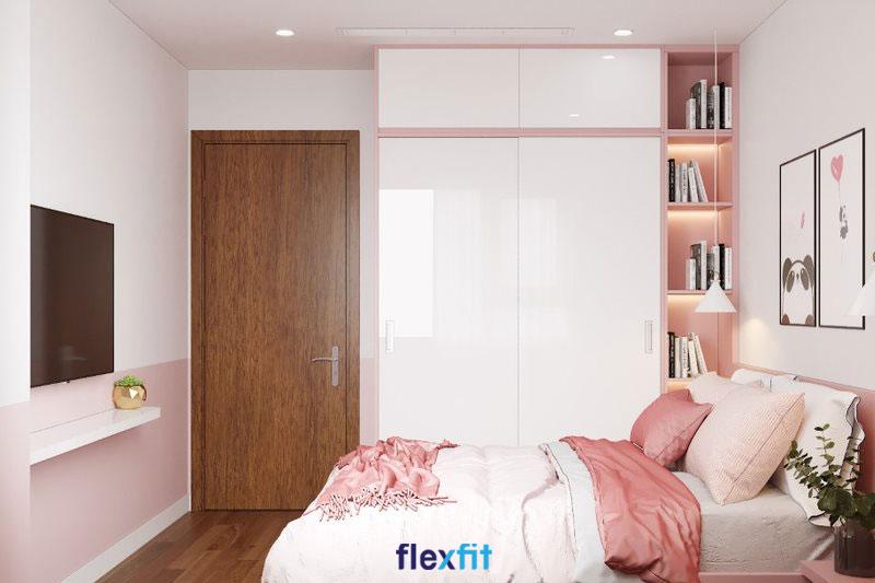 Thêm chút lãng mạn, mơ mộng, ngọt ngào cho căn phòng ngủ với tủ quần áo 2 cánh lùa kết hợp kệ trang trí màu trắng - hồng pastel đồng màu với tường và giường ngủ