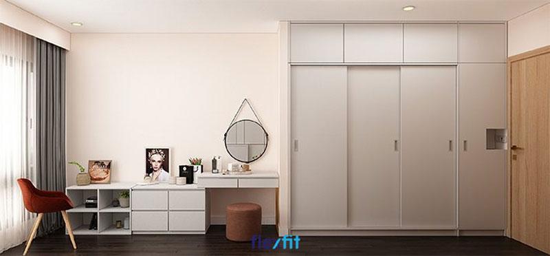 Tủ quần áo 3m lõi MDF phủ Laminate màu ghi sáng đẹp thanh lịch và đầy tiện dụng với thiết kế kích trần, 3 cánh lùa và 1 cánh mở