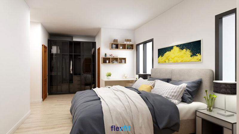 Tăng thêm vẻ đẹp sang trọng, hiện đại cho căn phòng ngủ với tủ quần áo lõi MDF phủ Laminate thiết kế 4 cánh kính dạng lùa.