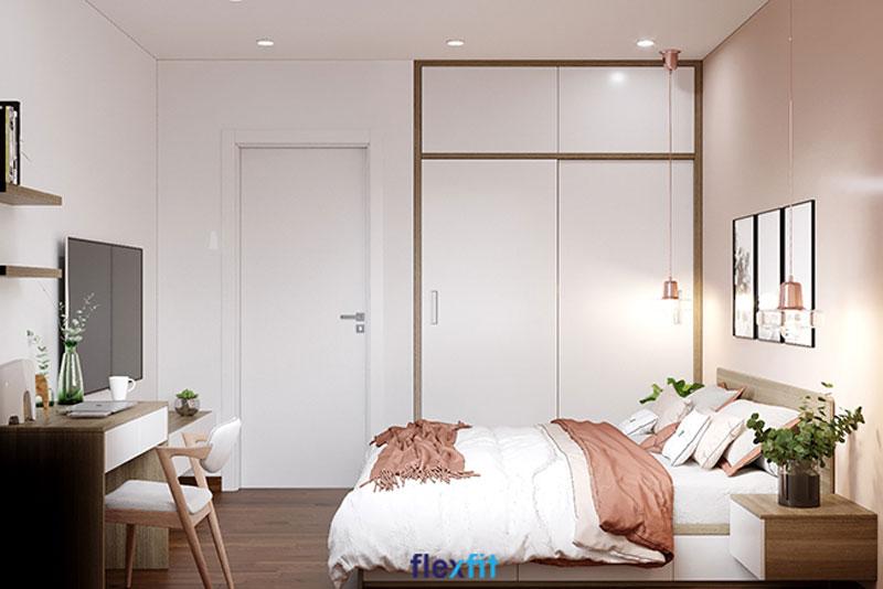 Lựa chọn tủ quần áo cánh lùa màu sáng để góp phần nới rộng không gian