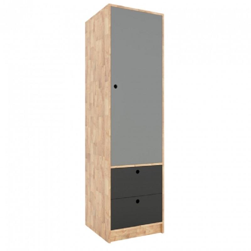 Tủ quần áo gồm 1 buồng lớn và 2 ngăn kéo. Với mẫu tủ đồ này, bạn có thể để quần áo treo, kết hợp gấp và các vật dụng nhỏ trong ngăn kéo.