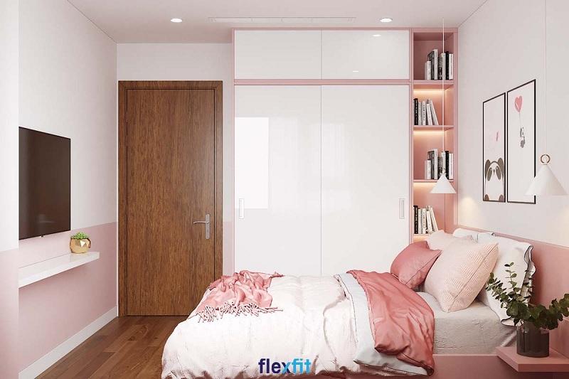 Tủ quần áo 2 cánh 2 buồng pha phối hai màu trắng và hồng pastel cho căn phòng tràn đầy sự ngọt ngào. Việc kết hợp tủ với giá sách giúp chủ nhân tìm chọn cuốn sách mình yêu thích để đọc thật dễ dàng.