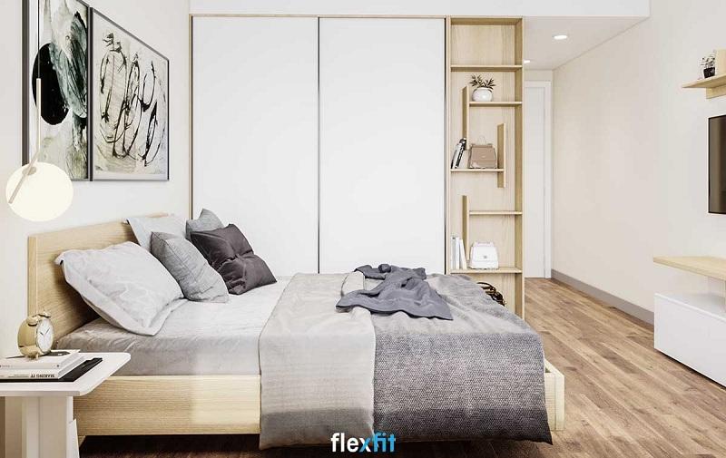 Tủ quần áo 2 cánh cửa lùa thiết kế kịch trần giúp tăng không gian lưu trữ mà không làm mất đi tính thẩm mỹ cho căn phòng. Ngoài ra, phần kệ trang trí được thiết kế thêm mang lại sự sáng tạo, vừa đẹp mắt, vừa tiện nghi cho người dùng.