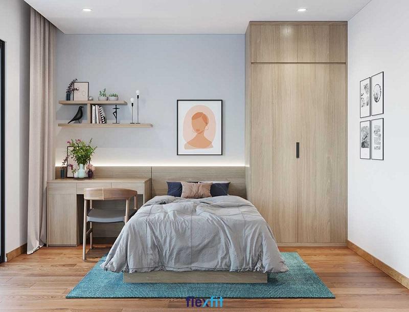 Mẫu tủ quần áo 2 cánh mở được làm từ lõi MDF phủ Laminate màu vân gỗ sáng đẹp mắt. Sản phẩm được kết hợp hài hòa với nội thất xung quanh, mang lại vẻ đẹp đồng nhất cho căn phòng.
