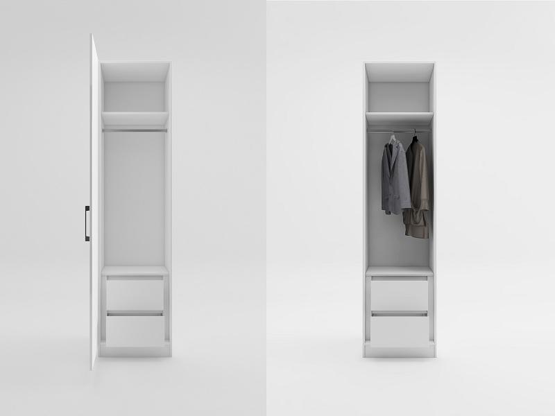 Tủ quần áo 1 cánh thiết kế hiện đại, có thanh treo quần áo và các ngăn chia để đồ tiện lợi. Đây là mẫu tủ quần áo giúp không gian phòng nhỏ gọn gàng, không bí bách mà vẫn đảm bảo công năng lưu trữ.