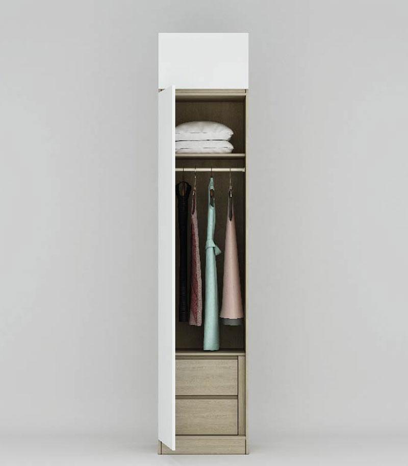 Mẫu tủ quần áo 1 cánh thiết kế gồm 2 ngăn kéo để đồ, 1 thanh treo quần áo, thanh ngăn và 1 ngăn tủ trên cùng giúp bạn lưu trữ quần áo và nhiều vật dụng khác.