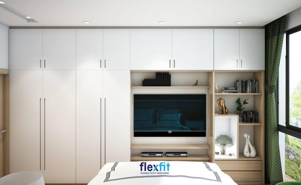 Tủ quần áo Acrylic thông minh tích hợp với tủ kệ tivi, kệ trang trí, ngăn kéo tủ mang lại sự đồng bộ một cách tối đa và sự tiện nghi cho người sử dụng.