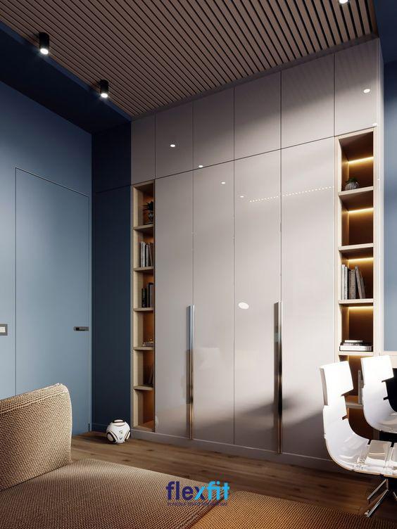 Tủ quần áo 4 cánh mở Acrylic được kết hợp cùng 2 kệ sách 2 bên mang lại vẻ đẹp hiện đại, tiện nghi cho người dùng. Với gam màu trắng - gỗ sáng màu càng làm nổi bật vẻ đẹp độc đáo, mới lạ của sản phẩm.