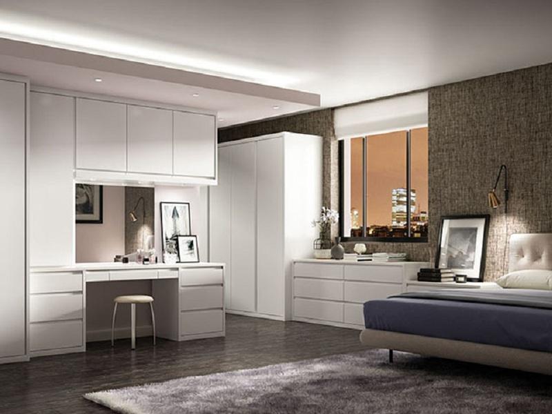 Thêm một mẫu tủ quần áo kèm bàn trang điểm tông màu trắng hoàn toàn nữa thiết kế đơn giản mà không kém phần hiện đại.