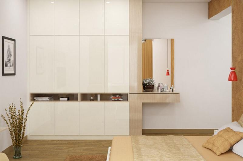 Tủ quần áo gỗ MDF phủ Acrylic sáng bóng tạo điểm nhấn với các hộc tủ không cánh ở giữa. Bàn trang điểm đi kèm tủ nhỏ gọn màu vân gỗ đủ để đáp ứng nhu cầu sử dụng.