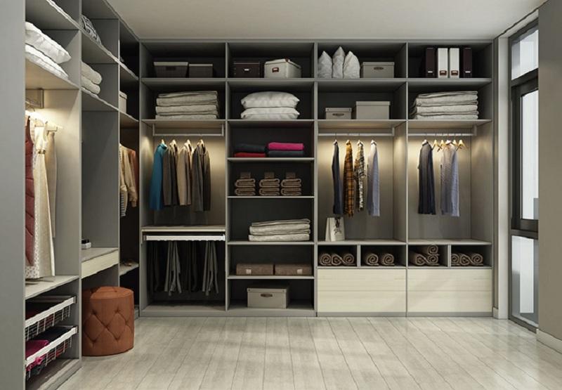 Tủ quần áo không cánh kết hợp tinh tế giữa màu trắng - ghi mang đến vẻ đẹp hiện đại, sang trọng cho căn phòng. Ngoài ra, với những ngăn chứa rộng rãi, bạn có thể dễ dàng để gối, chăn, hộp quà… một cách tiện lợi.