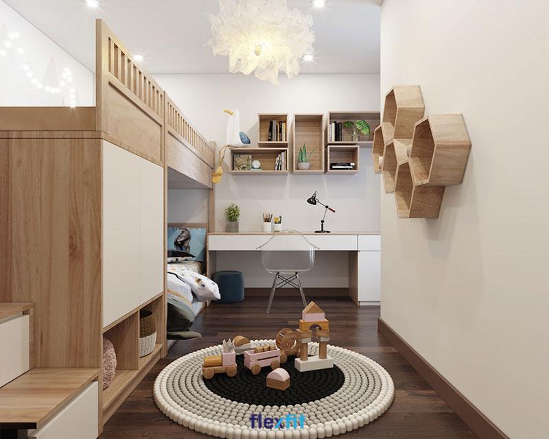 Phòng ngủ trẻ em 18m2 được thiết kế sáng tạo, lắp đặt tủ quần áo liền giường tầng với các bậc thang là hộc tủ kéo có thể chứa quần áo hoặc đồ chơi.
