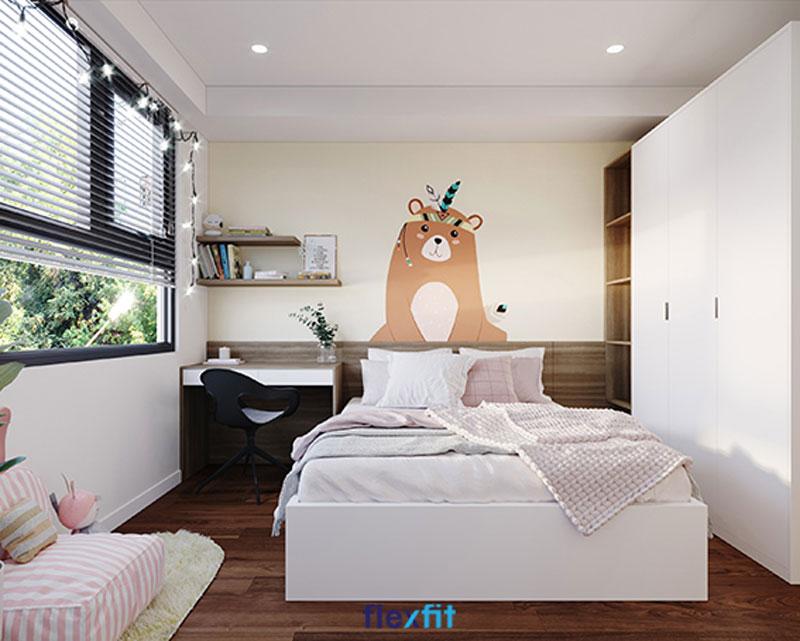 Giường ngủ liền tủ quần áo với gam màu trắng kết hợp gần cửa sổ đón ánh sáng tự nhiên, giúp phòng nhỏ thêm rộng thoáng.