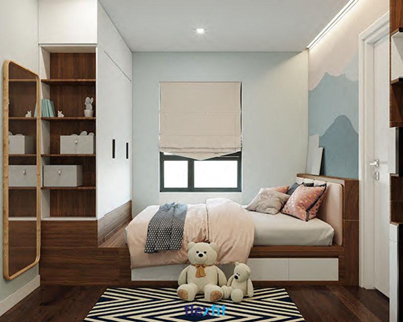 Thêm 1 mẫu tủ liền giường khác dành cho phòng ngủ bé yêu, thiết kế tủ màu trắng tạo cảm giác thoáng mát. Giường màu nâu vân gỗ cùng tông với nền phòng cho không gian ấm cúng, đồng bộ.