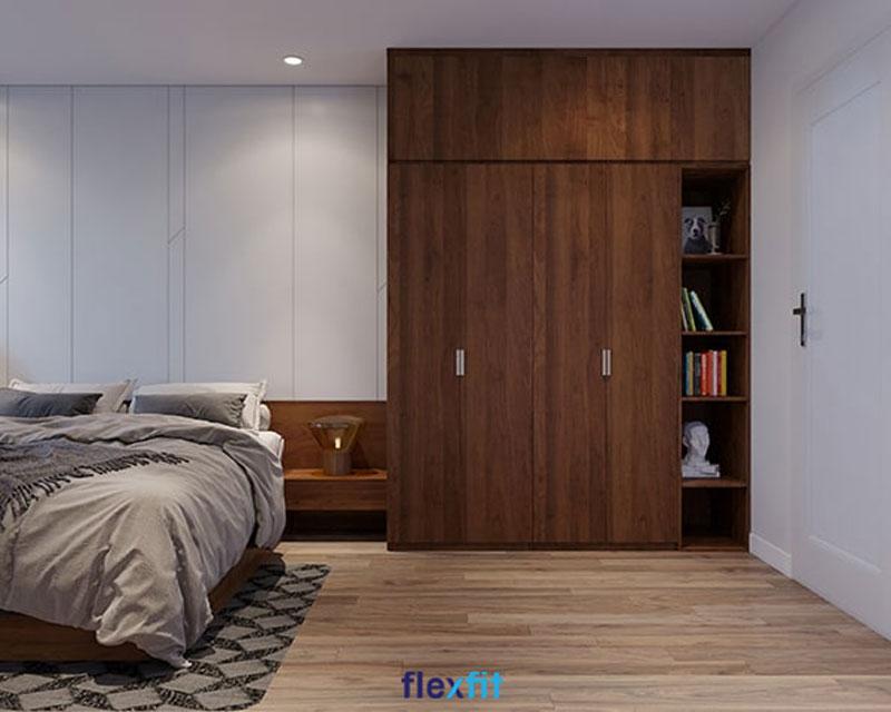 Mẫu tủ quần áo liền giường này phù hợp với phòng ngủ có kích thước rộng rãi tạo cảm giác thoáng đãng, dễ chịu. Chất liệu sử dụng lõi MDF chống thấm tốt, bảo vệ quần áo không bị ẩm mốc.
