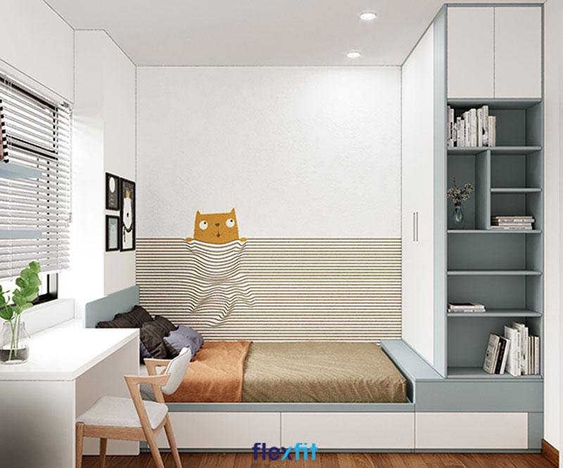 Phòng ngủ cho bé sử dụng hệ nội thất giường - tủ quần áo - bàn học liền mạch, đồng bộ
