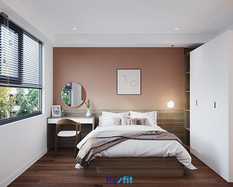 Thiết kế có phần tương tự mẫu tủ liền giường bên trên nhưng kích thước lớn hơn phù hợp với phòng ngủ diện tích 27m2. Tủ liền giường tích hợp kệ nhiều ngăn và bàn nhỏ có thể sử dụng như bàn làm việc hoặc bàn trang điểm.