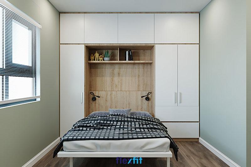 Mẫu tủ liền giường này được thiết kế tối giản, sử dụng tông màu sáng: trắng và nâu vân gỗ tạo cảm giác thoáng rộng hơn cho không gian phòng ngủ có diện tích nhỏ.